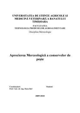 Proiect - Aprecierea Merceologică a Conservelor de Pește