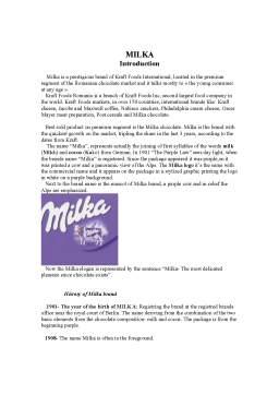 Referat - Milka Chocolate