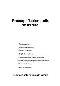 Proiect - Preamplificator Audio de Intrare