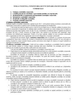 Curs - Notiunea, Constituirea si Functionarea Societatilor Comerciale