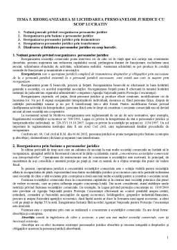 Curs - Reorganizarea și Lichidarea Persoanelor Juridice cu Scop Lucrativ