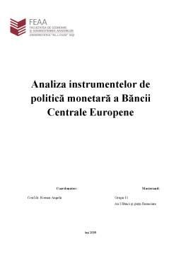 Referat - Analiza Instrumentelor de Politică Monetară a Băncii Centrale Europene