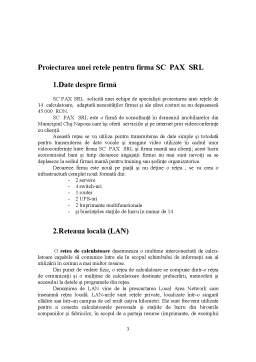 Proiect - Proiectarea unei Retele pentru Firma SC Pax SRL