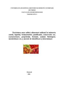 Proiect - Toxicitatea unor Aditivi Alimentari Utilizati in Industria Carnii, Laptelui, Branzeturilor, Panificatiei, Conservelor
