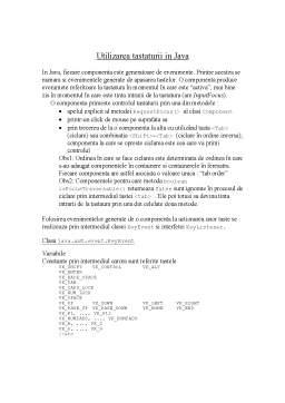 Curs - Utilizarea Tastaturii în Java