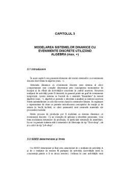 Curs - Modelarea Sistemelor Dinamice cu Evenimente Discrete Utilizând Algebra
