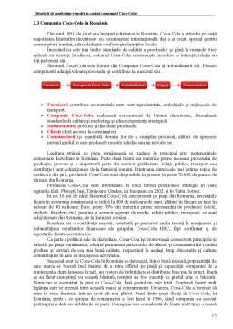 Proiect - Strategii de marketing-vânzări în Cadrul Companiei Coca-Cola