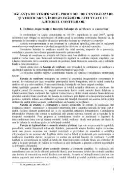 Curs - Balanța de Verificare - Procedeu de Centralizare și Verificare a Înregistrărilor Efectuate cu Ajutorul Conturilor
