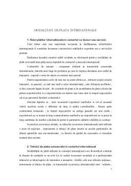 Referat - Modalitati de Plata Internationale