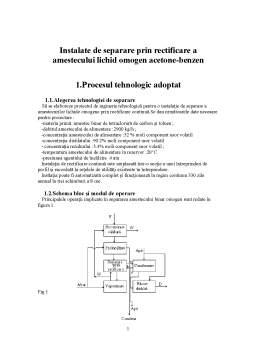 Proiect - Instalatie de Separare prin Rectificare a Amestecului Lichid Omogen Acetone-Benzen
