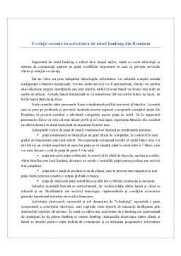Referat - Evoluții Recente în Activitatea de Retail Banking din România
