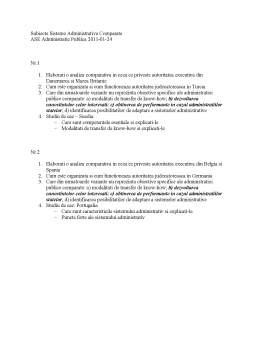 Notiță - Subiecte Sisteme Administrative Comparate