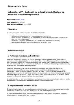 Laborator - Aplicatii cu Arbori Binari - Evaluarea Arborilor Asociati Expresiilor