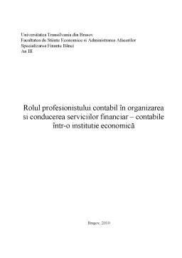 Referat - Rolul Profesionistului Contabil in Organizarea si Conducerea Serviciilor Financiar-Contabile intr-o Institutie Economica