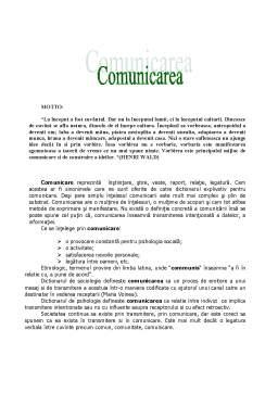 Referat - Comunicarea