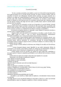 Curs - Politici Investitii si de Portofoliu - Economii in Investitii