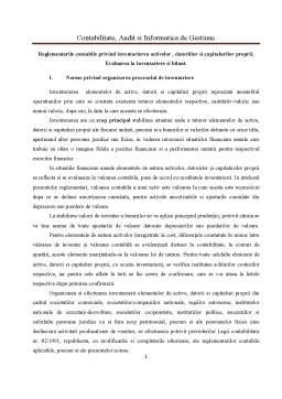 Curs - Reglementarile Contabile Privind Inventarierea Activelor, Datoriilor si Capitalurilor Proprii - Evaluarea la Inventariere si Bilant
