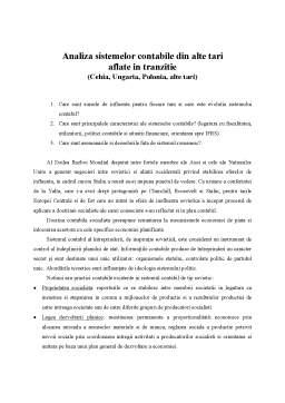 Curs - Analiza Sistemelor Contabile din Alte Tari Aflate in Tranzitie - Cehia, Ungaria, Polonia si Alte Tari