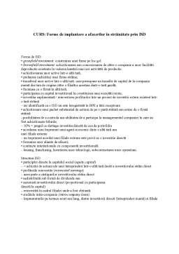 Curs - Forme de Implantare a Afacerilor în Străinătate prin ISD