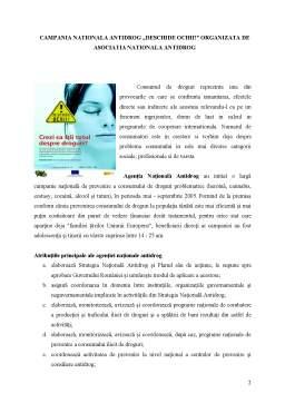 Proiect - Descrierea Campaniei Sociale - Deschide Ochii, Organizata de Agentia Nationala Antidrog