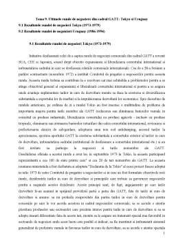 Curs - Ultimele Runde de Negociere din Cadrul GATT - Tokyo și Uruguay