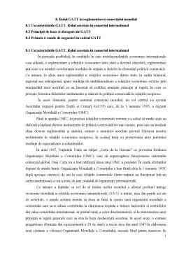 Curs - Rolul GATT în Reglementarea Comerțului Mondial