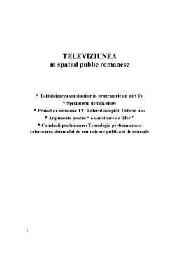 Proiect - Televiziunea in Spatiul Public Romanesc