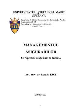 Curs - Managementul Asigurărilor