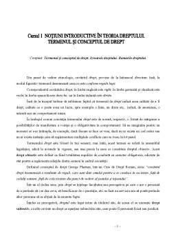 Curs - Notiuni Introductive in Teoria Dreptului - Termenul si Conceptul de Drept