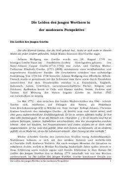 Proiect - Die Leiden des Jungen Werthers în der Modernen Perspektive