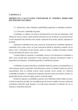 Licență - Modelarea Deciziilor Contabile pe Baza Calculatiei Costurilor de Productie Studiu de Caz la SA Grasica Gradistea