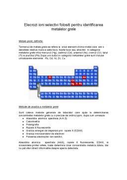 Referat - Elecrozi Ioni Selectivi Folositi pentru Identificarea Metalelor Grele