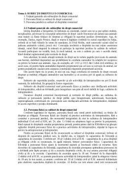Curs - Subiecții Dreptului Comercial