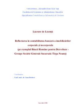 Licență - Reflectarea în Contabilitatea Bancară a Imobilizărilor Corporale și Necorporale