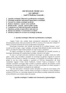 Curs - Sociologie Medicală
