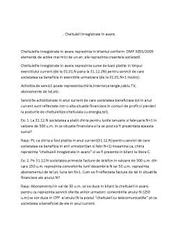 Curs - Cheltuieli Inregistrate in Avans