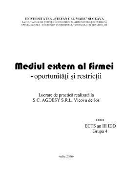 Proiect - Mediul Extern al SC Agdesy SRL - Oportunitati si Restrictii