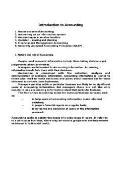 Seminar - Introduction to Accounting