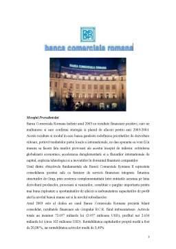 Proiect - Lucrare de Practica la Banca Comerciala Romana SA - Sucursala Libertatii-Bucuresti