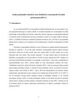 Curs - Analiza Poluantilor Chirali de Catre Lichidul de Cromatografie de Inalta Performanta (HPLC)