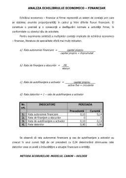Proiect - Analiza Economica Financiara a Intreprinderii