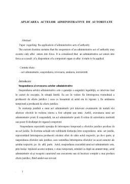 Proiect - Aplicarea Actelor Administrative de Autoritate