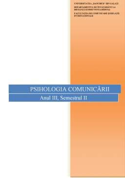 Curs - Psihologia Comunicării