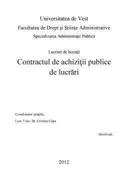 Licență - Contractul de Achiziții Publice de Lucrări
