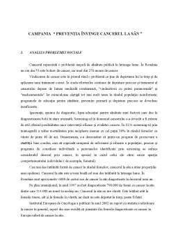 Referat - Campania - Preventia Invinge Cancerul la San