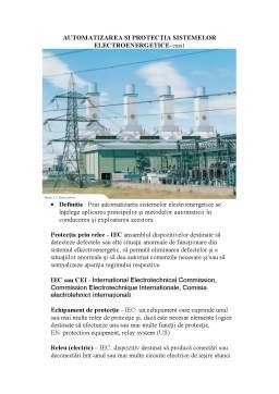 Curs - Automatizarea și Protecția Sistemelor Electroenergetice