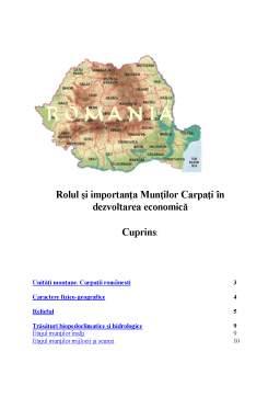 Proiect - Rolul Carpatilor