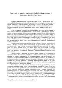 Curs - Contribuția Cronicarilor Moldoveni și a lui Dimitrie Cantemir la Dezvoltarea Limbii Române Literare
