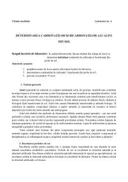 Laborator - Determinarea Carbonaților și Bicarbonaților Alcalini din Sol
