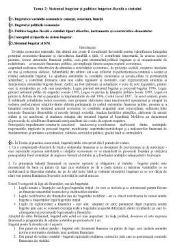 Curs - Politica Bugetar-Fiscala a Republicii Moldova